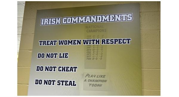 Notre Dame Football Locker Room Sign